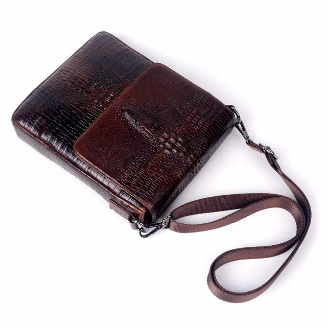 Genuine Leather Bag For Men Crocodile Alligator Mens Crossbody Shoulder Business Messenge Bags Tablet PC Male handbag 3