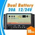 10 шт.  20 А  Двойной аккумулятор  контроллер заряда на солнечной батарее  двойной выключатель автоматической передачи  регулятор заряда 12 в 24 ...