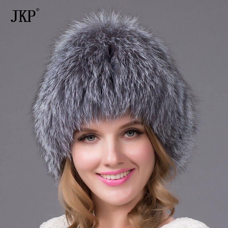 JKP Přírodní stříbrná čepice Fox Fur Dámská zimní čepice Pletená čepice Fox Fur Bomber Hat Female Ear