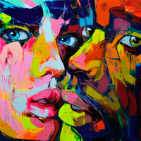 Hand Painted Cool Face Art Francoise Nielly Designer Palette knife Untitled 118 Oil painting canvas Bedroom hallway Wall Decor