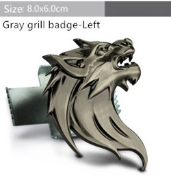Free shipping Chrome Sticker Car Front Hood Grill Badge Grille turning logo Wolf head Emblem Logo stickers Auto accessories