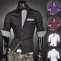 Mens Fashion  Designer Cross Line Slim Fit Dress man Shirts Tops Western Casual S M L  Z011