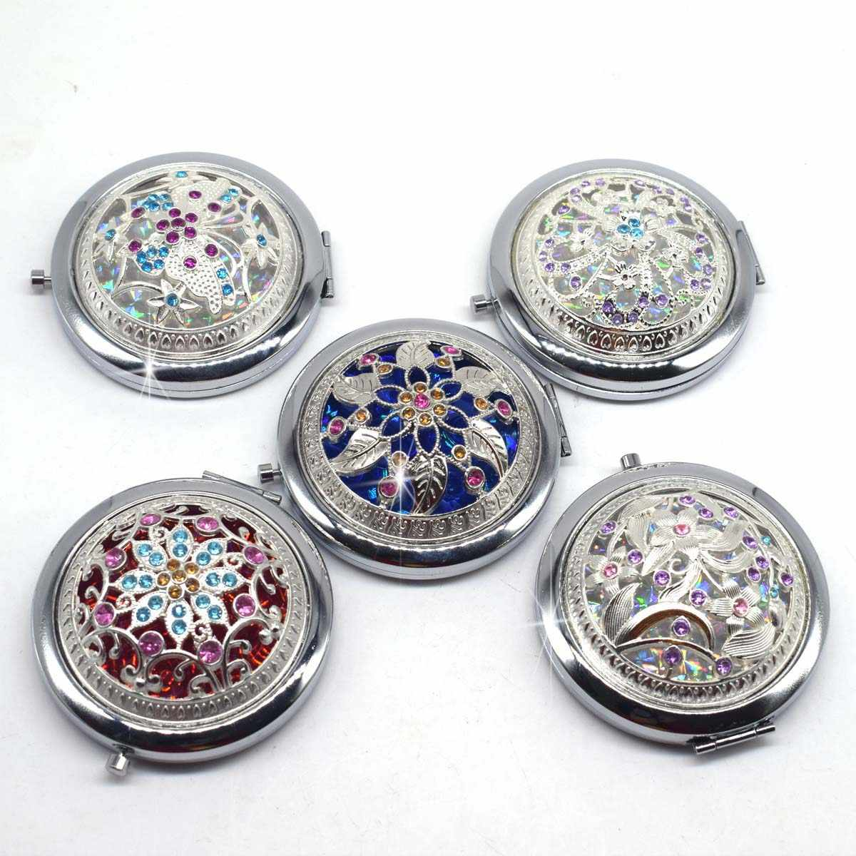 Vintage Silver Hollow Pocket Mirror Mini Women Girls Metal Double-Side Folding Cosmetics Mirrors for Personalized Wedding Gifts