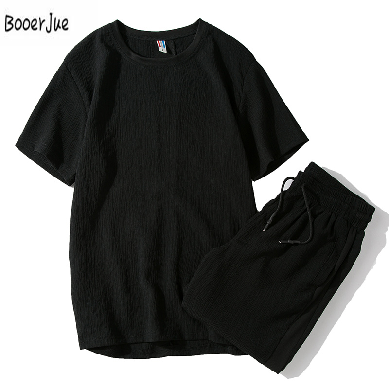 Summer Set Men Causal Sweat Pant Suits Short Sleeve Shorts 2PCS Sweat Suit+Pants New Fashion Tracksuit Mens Sportsuits Tee+Pants