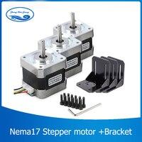 3pcs/lot 4 lead Nema17 Stepper Motor 42 motor Nema 17 motor 42BYGH 1.7A (17HS4401) motor for CNC XYZ