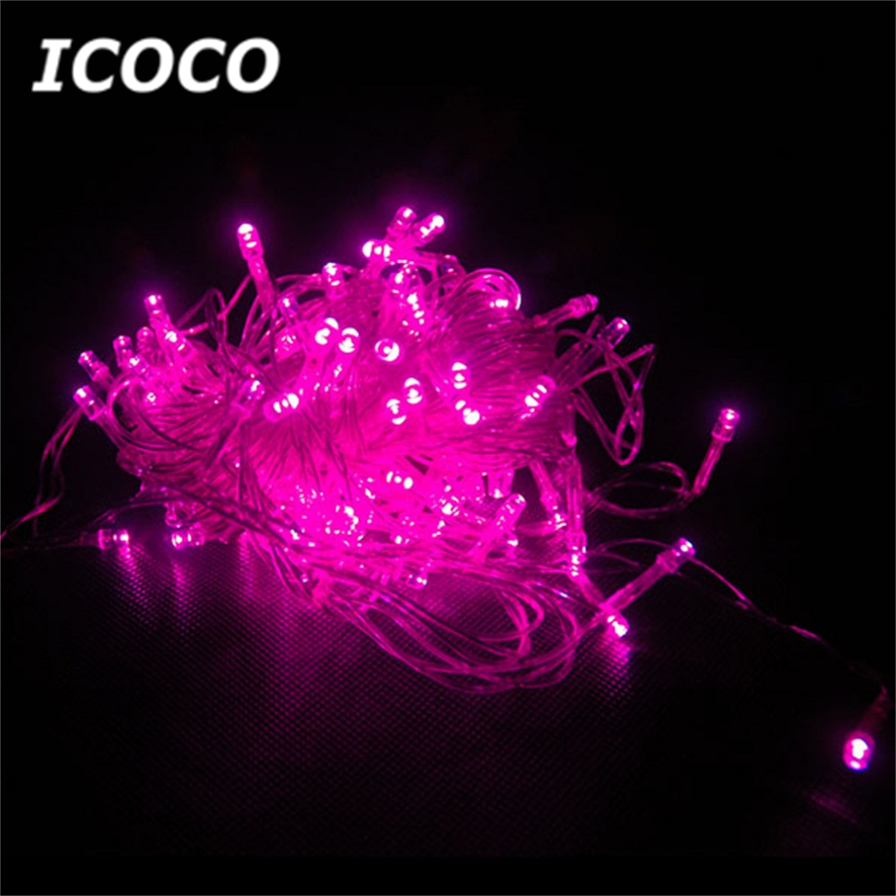 ICOCO 22M 200 LED pink String Fairy Lights Hot Pink Light for Christmas Wedding Garden Party Easter Home Decor Promotion Sale 22m 200 led solar strip light outdoor lighting solar led string fairy lights waterproof for wedding christmas party garden light