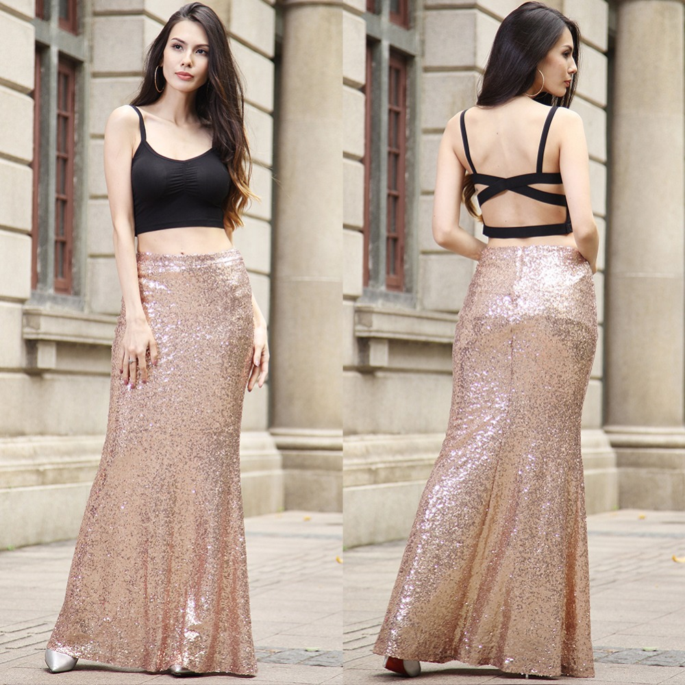 142f757f66 Elegant 2018 Mermaid Sequined Fashion Women Skirt Trumpet Wrap Long Maxi  Skirts Floor Length Plus Size Work Sewing Skirt