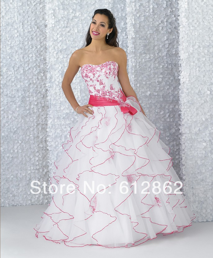 Strapless Sweetheart Lace Up Back Ruffled Organza Skirt Beaded Lace ...