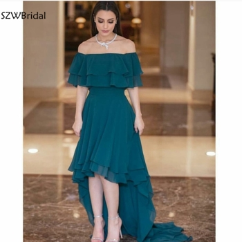 New Arrival Off the shoulder Chiffon Evening dress 2020 Prom evening gown Galajurk robe de soiree courte Cheap evening dresses