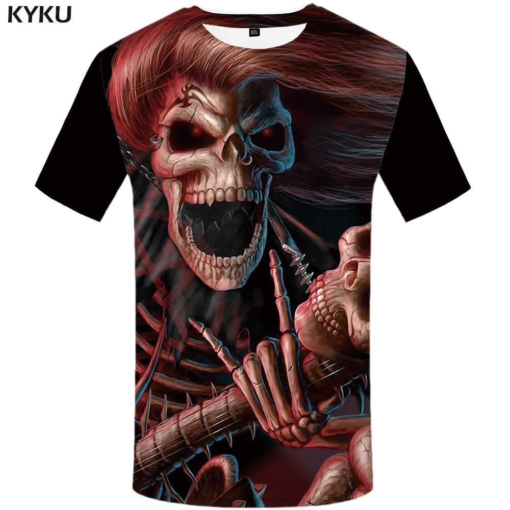 2e475656e14 KYKU Brand Skull T shirt Women Devil Plus Size Punk Shirts Clothing Tops  Clothes Womens 2018