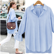 Fashion Women's Cotton Thin Striped Full Flare Sleeve Turn Down Collar Loose Casual Shirt