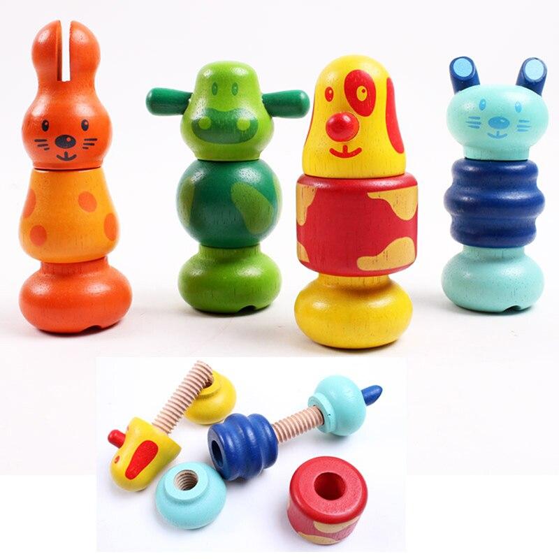 1 Stücke Holz Kinder Tier Schraube Mutter Demontage Montieren Blöcke/kinder Baby Holz Nette Tier Spielzeug Kinder Geburtstag Geschenke