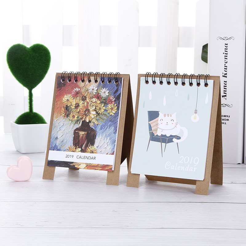 Confident 2019 New Kawaii Cartoon Table Calendar 12.5 Office & School Supplies 9.5cm Creative Desk Vertical Paper Multi-function Timetable Plan Notebook To Prevent And Cure Diseases