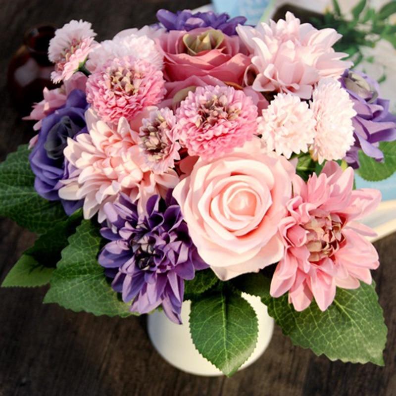 1 Pcs Mix Kombination Schöne Braut Hand Blumen Hybrid Hochzeit Dekoration Blume Seide Dahlie Künstliche Rose Gefälschte Nelken