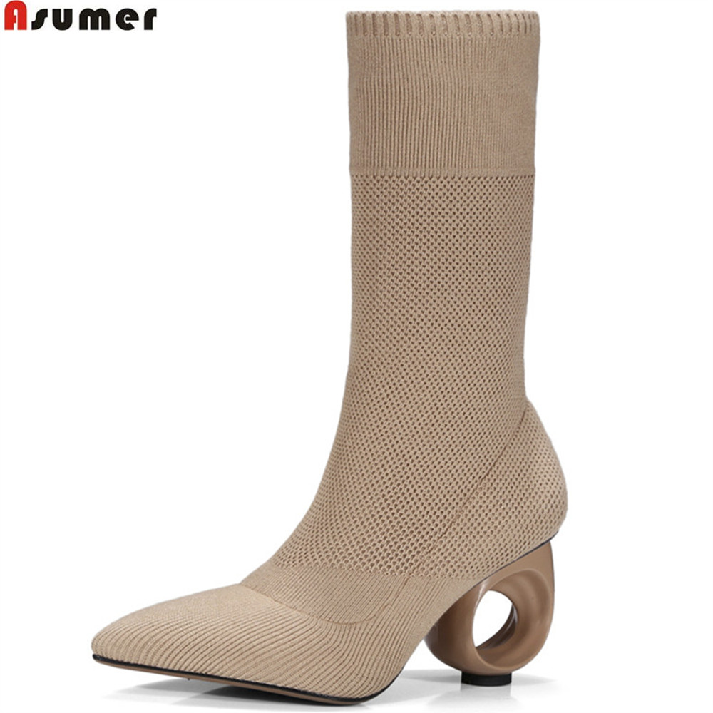 ASUMER black apricot autumn new arrive women boots flock ladies boots pointed toe pigskin inwardly sexty