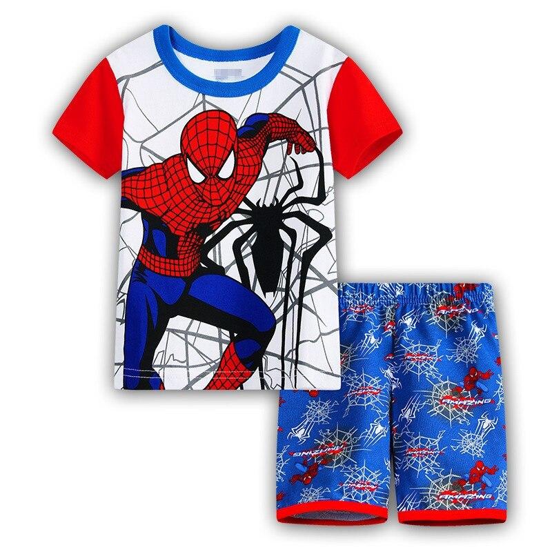 15 Kids Boys Girls Pajamas Cartoon Spider-Man Set Baby Sleepwear Cotton Superhero Costumes Shorts + Short Sleeve Tees Baby Clothing