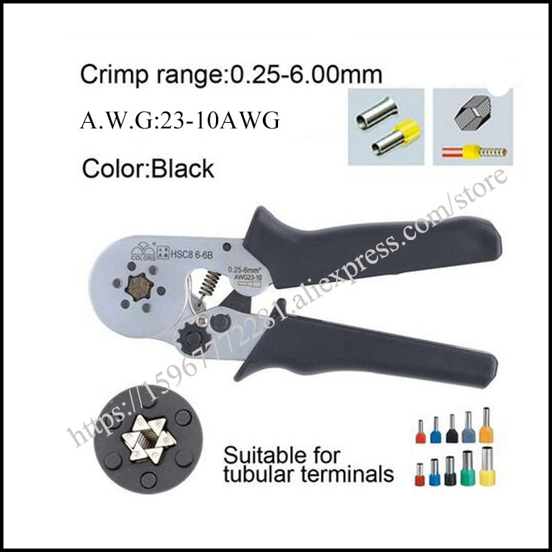 FASEN tool HSC8 6 6B mini self adjustable crimping plier 23 10AWG crimping capacity 0 25 6mm2 special pliers with casing type in Pliers from Tools