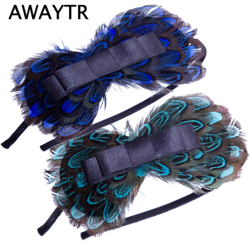 Girls Feather Hairband 2017 Halloween Women Peacock Feather Bowknot Hairbands Indian Festival Hair Accessories Party Hair Bands