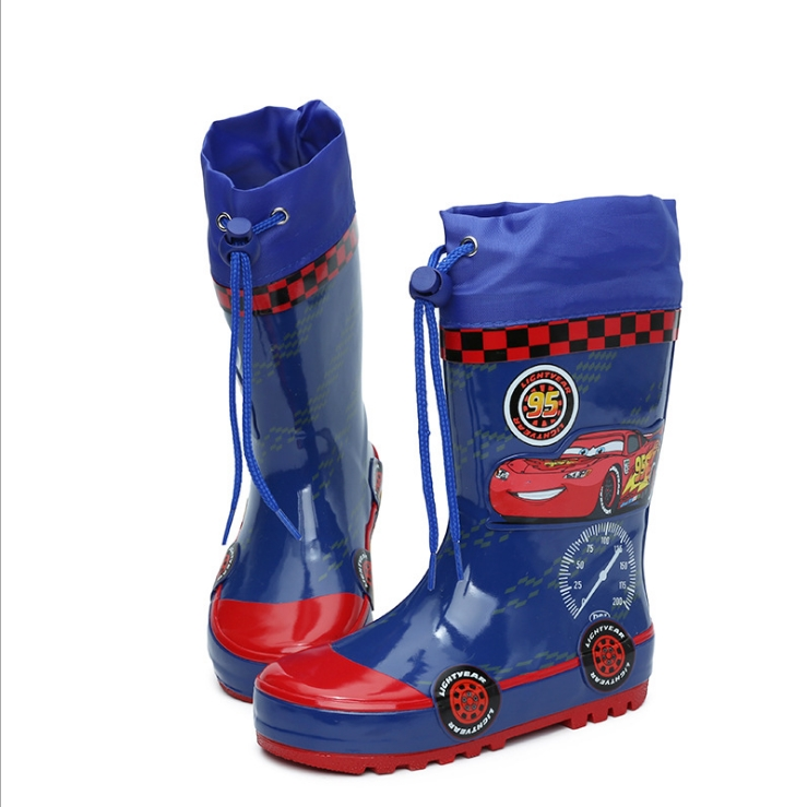 Fashionable Children's Rubber Cartoon Rainshoes Boys'Antiskid Rainshoes Blue Primary School Students' Water Shoes Baby Slippers