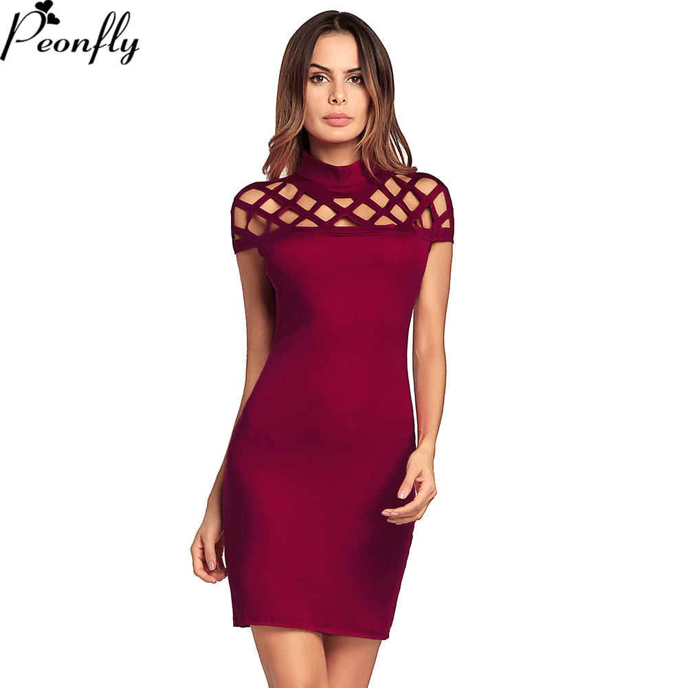 PEONFLY Sexy Women Dress O-NECK short Sleeve Red Black Club Factory Bodycon Bandage  Midi Party Dresses ec762c428d13