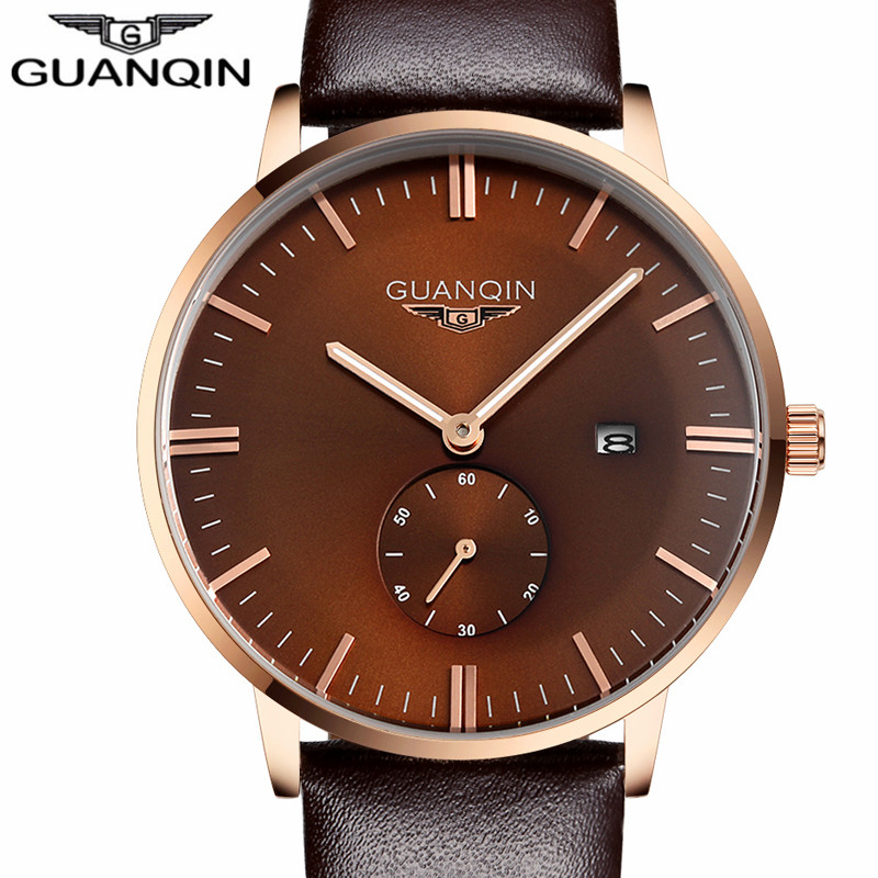 ФОТО GUANQIN Men's Fashion Casual Watches Men Top Brand Luxury Waterproof Quartz Watch Date Analog Leather Wristwatch reloj hombre