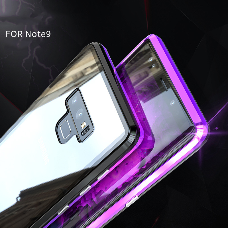 Suntaiho Magnet Metal bumper Case for Samsung note9 note8 Magnetic Adsorption Case for Samsung Galaxy S8 S9 Tempered Glass back