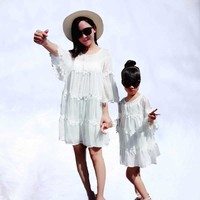 Family Matching Clothes Family Look Bohemian White mother and girl Dresses 2019 new Summer fashion Mother Daughter Dresses