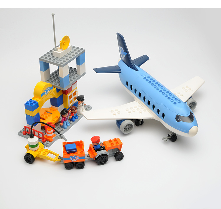 ФОТО 69pcs Large Size Happy Airport Building Blocks Compatible with Gift duploes Classic Toys Educational Baby Toy Gifts