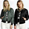 Women Bomber Jacket Quilting Quilted Jacket Side Zipper Sleeve Coat Pilots V-Neck Outerwear Top 2 Color Trendy