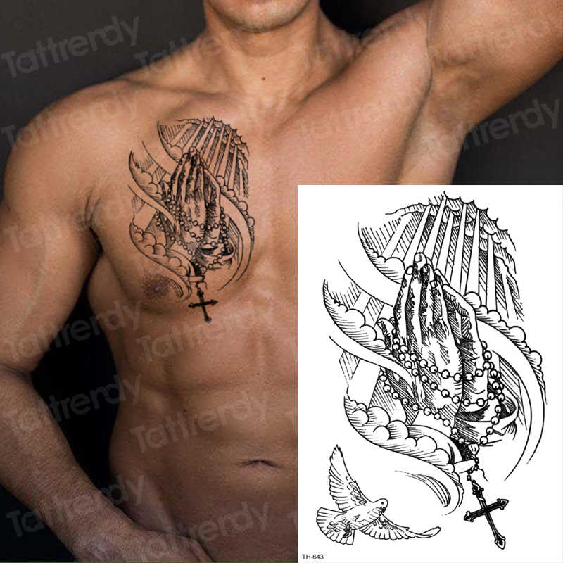 Temporary Tattoo Sticker For Men Sketches Tattoo Designs Men Shoulder Tattoos Chest Black Big Tatoo Sketch Waterproof Body Art Aliexpress