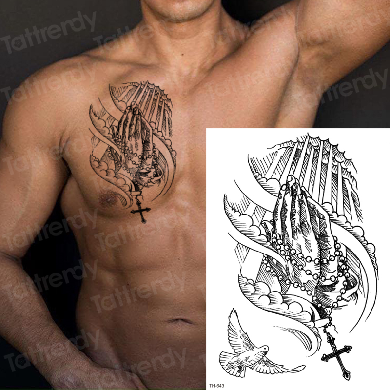 Temporary Tattoo Sticker For Men Sketches Tattoo Designs Men Shoulder Tattoos Chest Black Big Tatoo Sketch Waterproof Body Art