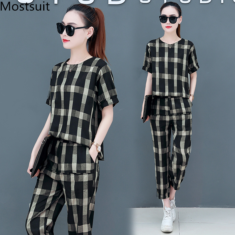 2019 Summer Cotton Linen Plaid Two Piece Sets Outfits Women Plus Size Short Sleeve Tops And Pants Casual Matching Sets Suits 33
