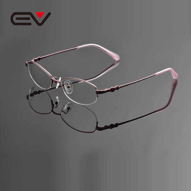 Ev oculos de grau feminino mujeres titanium titanium miopía óptica gafas de alta calidad del mitad-borde anteojos frameev0950