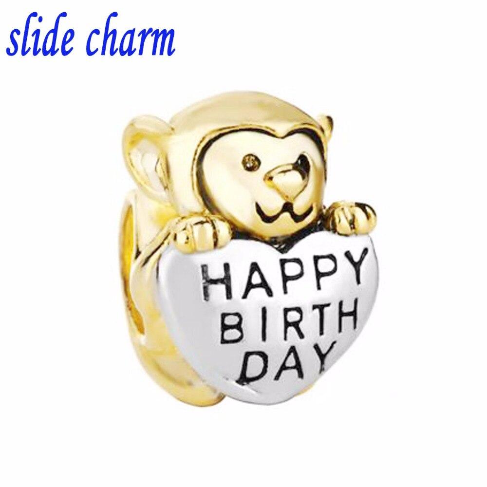 slide charm Free shipping Valentines Day gift monkey HAPPY BIRTHDAY love charm beads for Pandora charm bracelet
