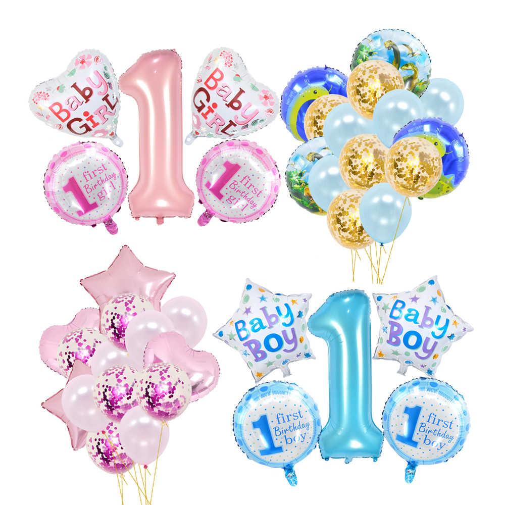 1 Uds de papel de aluminio de feliz cumpleaños globos fiesta de cumpleaños decoración globos de helio de piña flamenco 1 año chica Decoración Para Cumpleaños de bebé