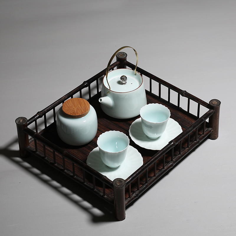 PINNY Purple Bamboo Fence Tea Trays Semi Manual Board Chinese Kung Fu Accessories Ceremony Decorations