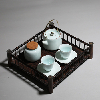 PINNY Purple Bamboo Fence Tea Trays Semi Manual Tea Board Chinese Kung Fu Tea Accessories Tea Ceremony Decorations