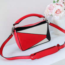 2019 New Artificial Leather Women Boxy Bags Fashion Panelled Shoulder Crossbody Bag Simple Style Patchwork Ladies Small Handbags цены
