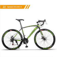 New brand carbon steel frame 700C wheel 21/27 speed disc brake road bike outdoor sport cycling bicicletas racing bicycle