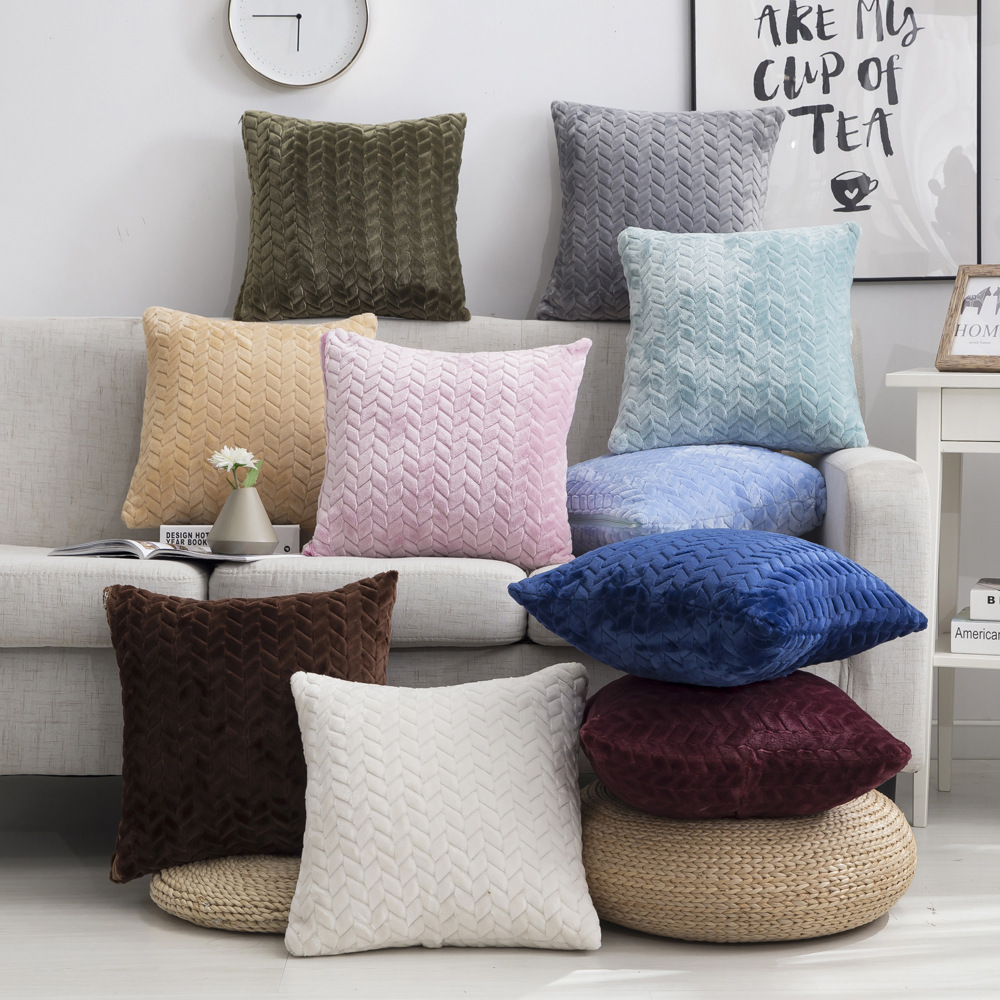 Plush Cushion Cover 45*45cm Decorative Pillows Home Decor Velvet Pillow Case For Living Room Bedroom Sofa Living Room Decoration