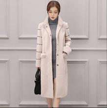 High quality Women's X-Long Lambs Wool Coat Genuine leather Women Real Fur Coats