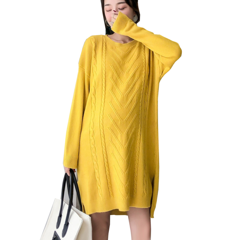Maternity Plus Size Loose Knit Dress for Pregnant Women Irregular Twist Sweater Dresses Pregnancy Clothes Casual Long Pullovers plus size geometric loose sweater kimono cardigan