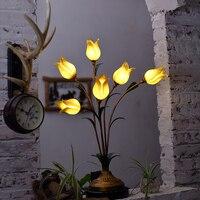 G4 ha condotto Europeo Ferro Vetro Tulip Lampada LED. Luce A LED. Light Table. Table Lamp. Desk Lamp. LED Desk Lamp Per Camera Da Letto Ufficio