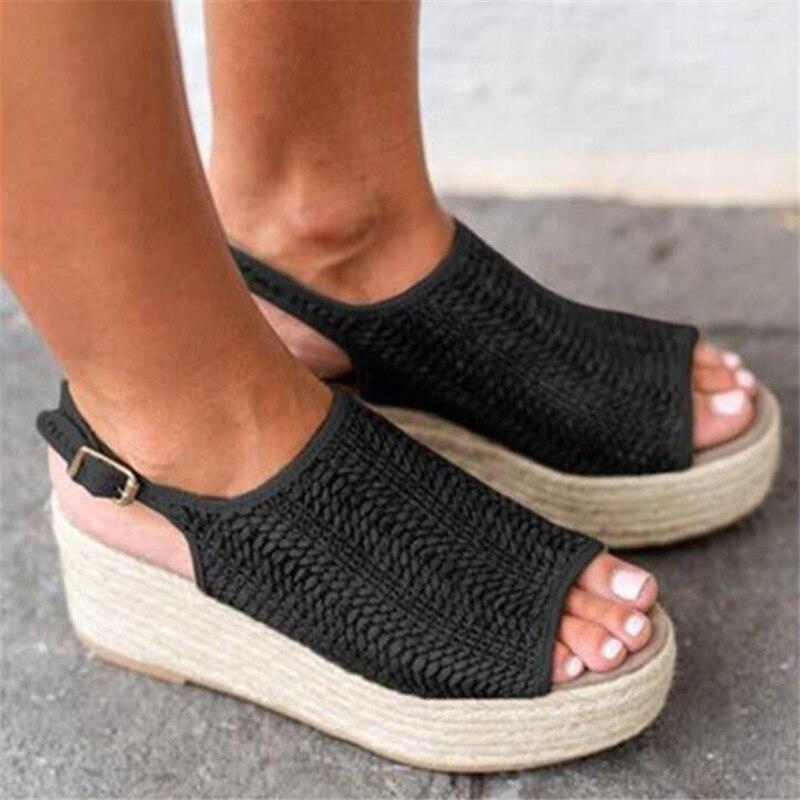 Summer Women Hemp Sandals Fashion Female Beach Shoes Wedge Heels Shoes Comfortable Platform ShoesSummer Women Hemp Sandals Fashion Female Beach Shoes Wedge Heels Shoes Comfortable Platform Shoes