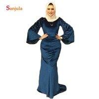 Velvet Long Sleeve Formal Evening Dresses Saudi Arabic Women Evening Gowns Pearls Bell Sleeves Long robe soiree SD776