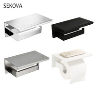 White &Mirror Chrome Polished & Black & Brushed Stainless Steel Toilet Paper Holder Top Place Things Platform 4 Choices