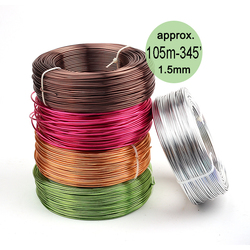 Wholesale 0.5kg Anodized Artistic Aluminum Craft Wire 1.5mm 14 Gauge 105m 115yd Colored Jewelry Soft Metal Wire Permanent Colors