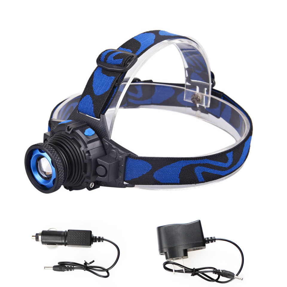 Headlamp Cree Q5 Waterproof LED Headlight 500lm Built-in Lithium Battery Rechargeable Head lamps 3 Modes Zoomable Torch+Charger