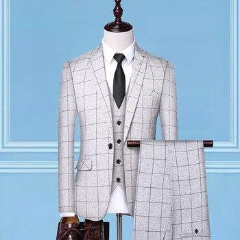 Men's suit spring and autumn new plaid slim men's suit three-piece suit (jacket + pants + vest) men's business banquet dress