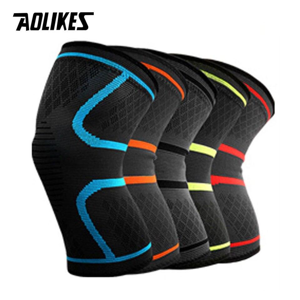 AOLIKES 1 par deportes al aire libre rodilleras soporte Patella guardia gimnasio Protector silicona antideslizante absorción de choque para hombres mujeres